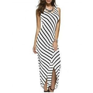 Dresses & Skirts - White and Black Striped Maxi Dress