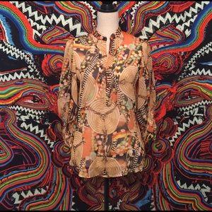 Diane Von Furstenberg Jewelry Print Silk Blouse