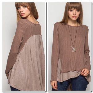 She and Sky Tops - Long Sleeve Ribbed Top w/Solid Contrast