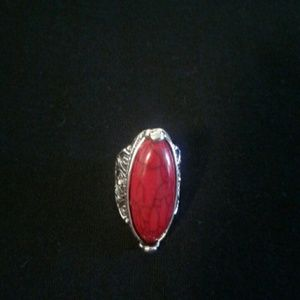 unbranded Jewelry - Ethnic Stainless Steel Red Stone Ring  Womens  NEW