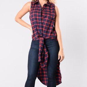 Fashion Nova Tops - Maxi Flannel Sleeveless Top