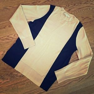 LOFT Sweaters - LOFT tan / black color block sweater