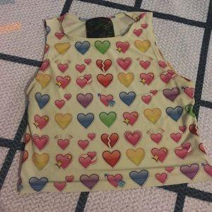 OMIGHTY HEART EMOJI CROP TOP SZ M/L