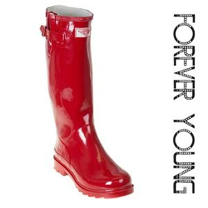 Women Tall Rain Boots, #3106, Red