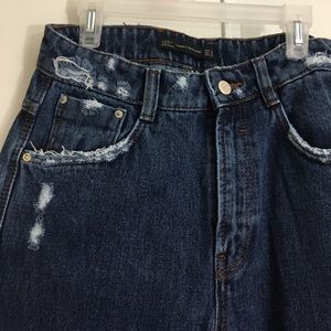ZARA Distressed High rise Mom Jeans With Patches.