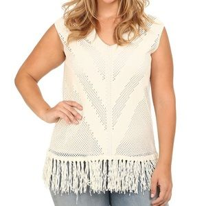 Vince Camuto Tops - Crochet Tunic Tassel Sleeveless Top