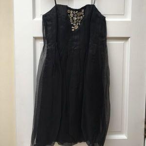 Black ABS strapless dress