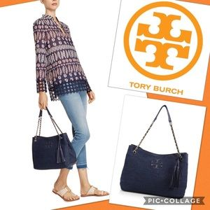 Tory Burch Thea Straw Tote/Navy