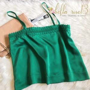 House of Harlow 1960 Tops - House of Harlow Emerald Silk Tank