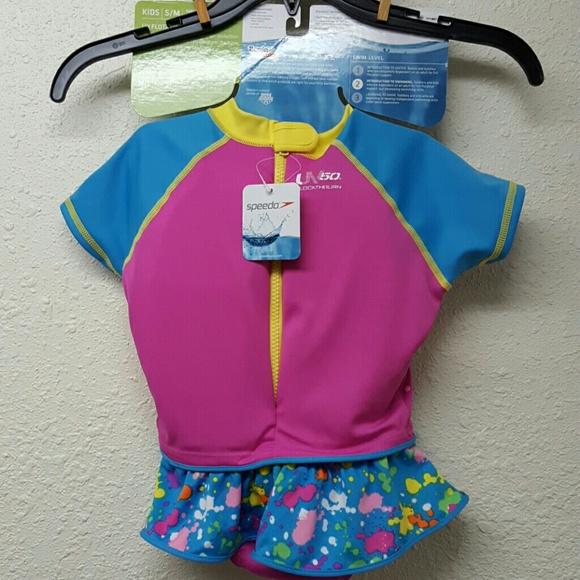 89d5fbde4b2 KIDS Speedo Girls UV Flotation Suit Size S-M. NWT. Speedo.  M 58b1fb3a4225be568c018f2a. M 58b1fb3d9c6fcfade903b045.  M 58b1fb4536d594f6ec039df7