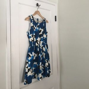 Ina Blue and Black Floral Watercolor A Line Dress