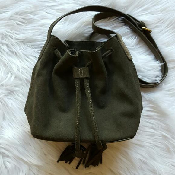 J. Crew Handbags - J.Crew Suede Mini Bucket Bag with Tassels