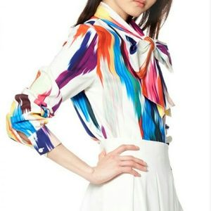 Gracia Tops - Gracia New w/tags NEVER WORN Rainbow Bow Blouse