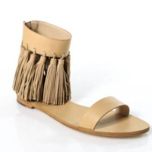 Loeffler Randall Shoes - Loeffler Randall Lark Sandals Fringe Flat Wheat