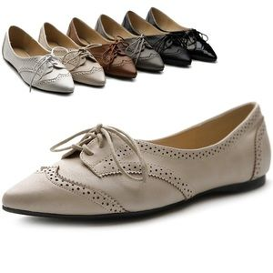 Ollio Shoes - Leather pointed oxford shoes
