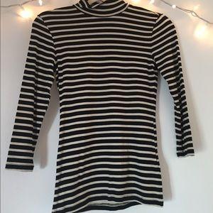 Striped mock neck shirt