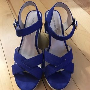 Shoes - Blue strappy wedges