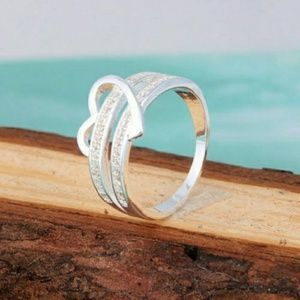 Jewelry - Heart Ring-SterlinG Silver/Double Row Diamonds