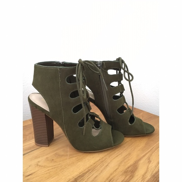 3e531e24581 Bamboo Shoes - Bamboo Olive Green Lace Up Cage Heels
