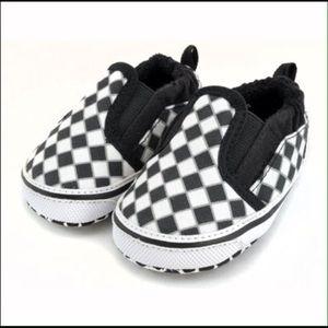 e42ec58961e27d Vans Shoes - 2 pair Van crib shoes Blk   White  blue donuts ...