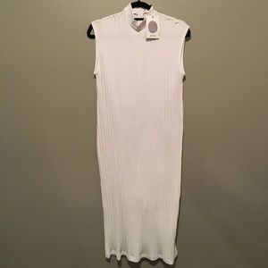 MONKI size M white rubbed Jersey midi dress BNWT