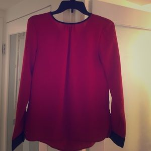 Red Zara top with black leather detail