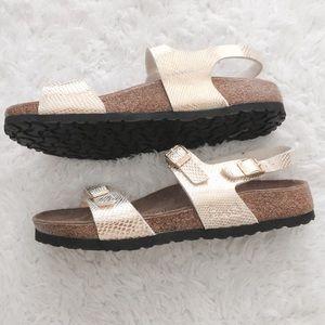 3d5d0c7d7477 Birkenstock Shoes - NWOT Birkis Gold Snakeskin Back Strap Sandals 39 8