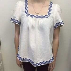 Madewell Tops - Madewell Embroidered square neck peasant blouse