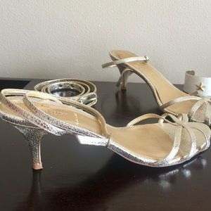 Banana Republic Shoes - 🌟Metallic Ankle Wrap Kitten Sandal LIKE NEW