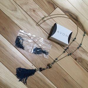 Long Tassel Necklace & Earrings Set