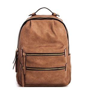 Handbags - Double Zipper Vegan Leather Backpack