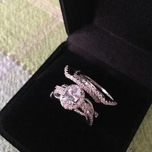 Jewelry - 3pcs 925 silver engagement ring wedding band set