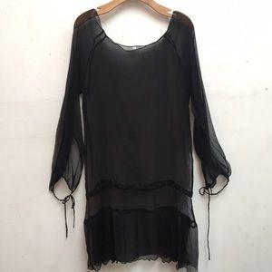 Vintage Black Sheer Silk Dress sz Large
