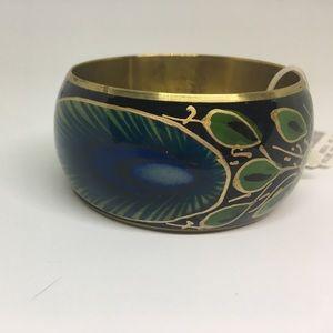Anna & Ava Jewelry - Peacock Metal Bangle Bracelet Black Gold Wide Cuff
