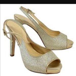 Kate Spade Gold Glitter Sling-back