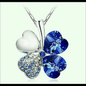 "Jewelry - New Silver with ""BLUE"" Four Leaf Clover Necklace"