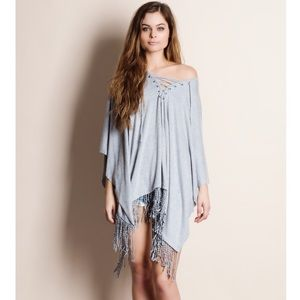 Fringed Lace Up Tunic Top