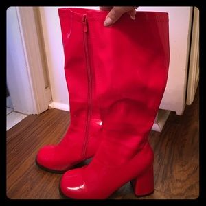 Ellie Shoes - Sexy Red vinyl GoGo Boots