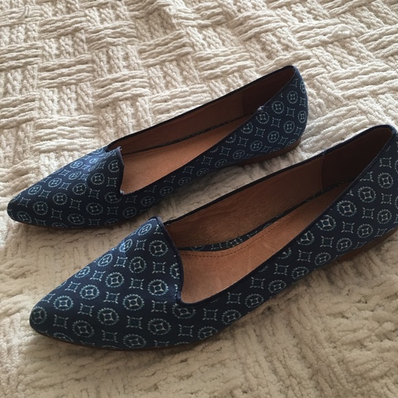 Joie Shoes - Joie Blue Printed Day Dreaming Smoking Flats