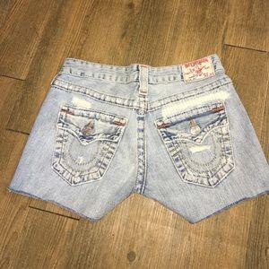 True Religion Jeans denim distressed shorts 26