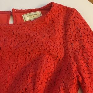 Anthropologie lace peplum top in coral