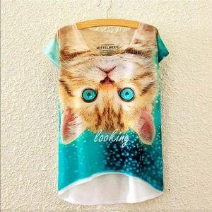 Tops - Cute Cat High-Lo Tee