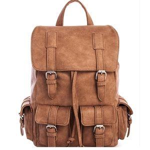 Handbags - Trendy Multi Pocket Vegan Leather Backpack