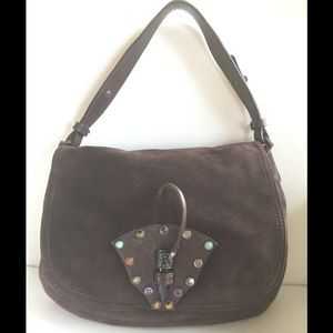 Valentino Garavani Handbags - VALENTINO PURSE BROWN SUEDE GEM CABOCHONS & LATCH