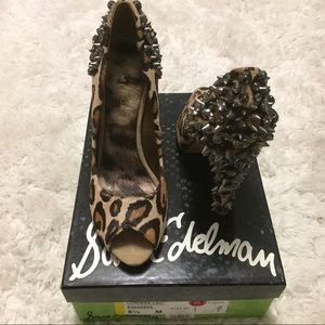 Sam Edelman cheetah print spike high heels