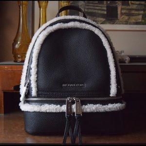 MICHAEL Michael Kors Handbags - Micheal Kors Leather Shearling Rhea Backpack - NEW