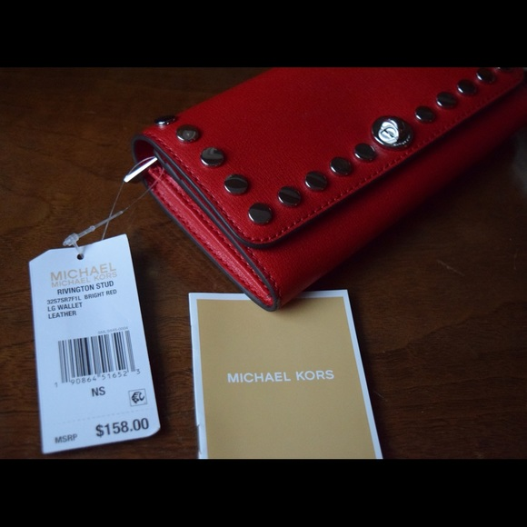 5e2989150d23 Michael Kors Red Rivington Stud Large Wallet - NEW