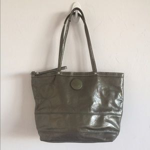Coach Handbags - Coach patent leather signature stripe tote