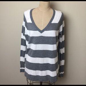 Banana Republic Sweaters - Banana Republic sheer Back v neck striped sweater