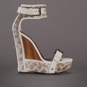 Belstaff Shoes - Belstaff Piccadilly Cream Wooden Wedge Sandal Heel